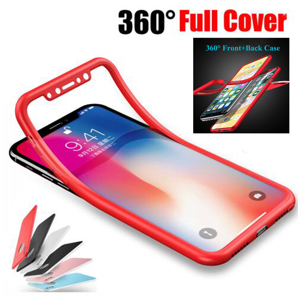 Jetjoy 360 Degree For iPhone X Silicone Case Full Body Front+Back Shockproof Protective  ...