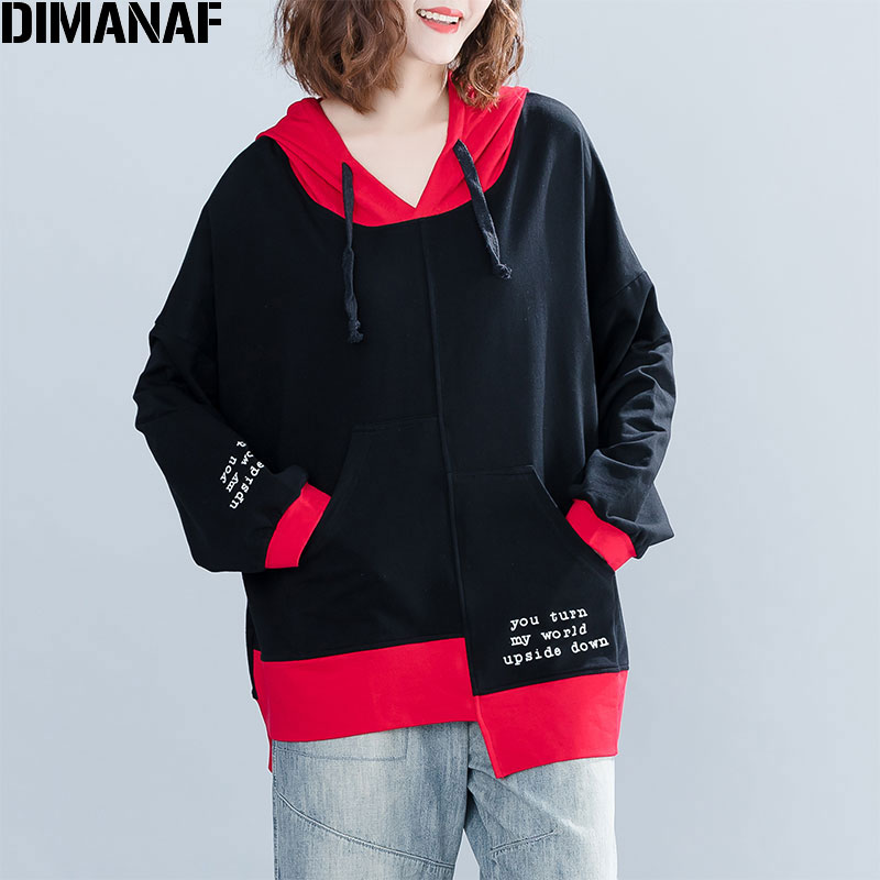 DIMANAF Plus Size Women Hoodies Sweatshirts Autumn Female Pullovers Patchwork Winter Cotton Thicken Loose New 2019 Tops&Tees