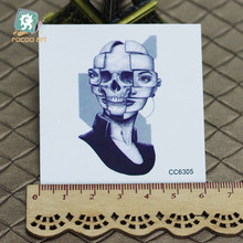 6X6cm Little Vintage Old School Style Black Skull Women Temporary Tattoo Sticker Body Art Water Transfer Fake Taty