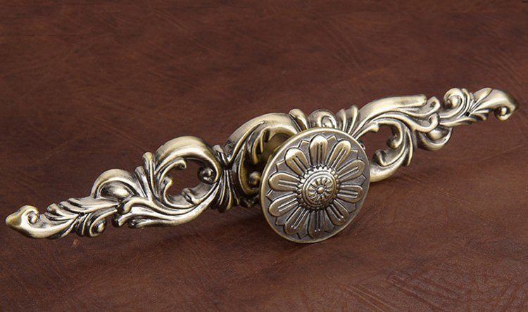 5pcs classical cabinet drawer pull handle and knob antique bronze small size l113mm