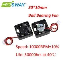 3 DSWAY 3D Принтер Части Охлаждения Вентилятор Шариковый Подшипник Вентилятора Высокая Скорость 10000 ОБ./МИН. 30*30*10 мм 12 В 24 В С XH2.54-2P Dupont Провода 150 мм