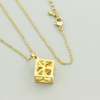 GORGEOUS TALE New Geometry Cube Pendant Necklace Unique Design Dainty jewelry Hollow Out Women Magnetic Pendant Necklace 2018