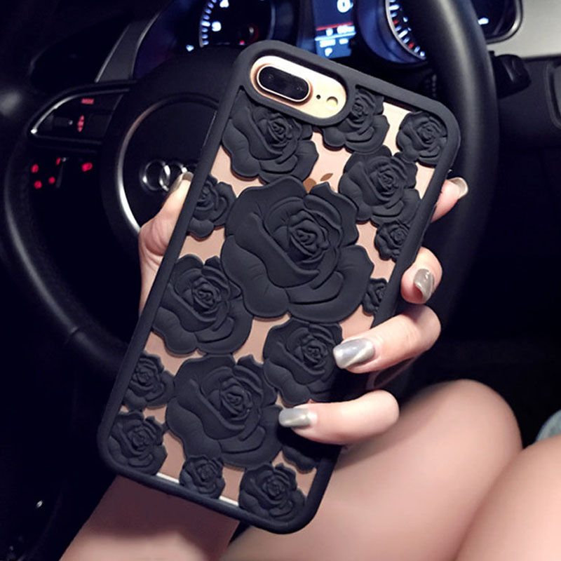 Fashion <font><b>3D</b></font> Rose Hollow Phone <font><b>Cases</b></font> For <font><b>iPhone</b></font> <font><b>X</b></font> 8 7 6 6S Plus <font><b>Case</b></font> Elegant Roses Flower Soft <font><b>Silicone</b></font> TPU Back Cover Shell Coque image