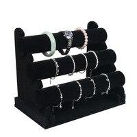 3 Tier Velvet/PU Leather Watch Bracelet Bangle Necklace Jewelry Organizer Holder 30x17x24.5cm Display Stand Rack Black H4035