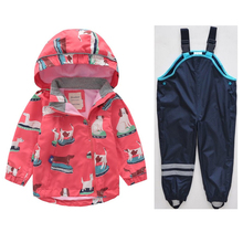 New girls windbreaker spring and autumn children windproof jacket baby hooded jacket + pants 2018 coat fashion full top fashion real boy girl jacket baby spring and autumn plus pants children windbreaker children s suit