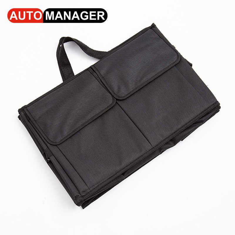 Черный складной тележки автомобиля Организатор Авто Еда игрушки инструмент сумка для хранения Водонепроницаемый коробка универсальные аксессуары для интерьера