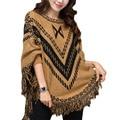 Women Fashion Poncho tassel autumn loose Sweaters Batwing Knitted Tassels Hem Pullover irregularity Cloak Tops Shawl mantle