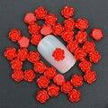 50 Шт./лот 3D Шарм Nail Art Украшения 6 мм Красный Смолы Роза цветы Для Украшения Ногтей Шпильки DIY Клей Nail Art Аксессуары PJ214