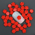 50Pcs/Lot 3D Charm Nail Art Jewelry 6mm Red Resin Rose Flowers Decoration For Nail Studs DIY Glue Nail Art  Accessory PJ214