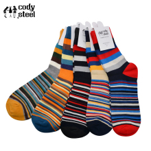 Cody Steel Man Cotton Socks Breathable Comfortable Men Tube Fashion Colorful Stripe Male Casual  5pairs/lot