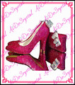 Aidocrystal plata cristal de la boda del alto talón zapatos y bolsa de conjunto