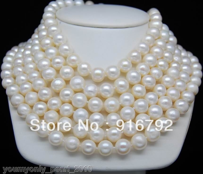 free shipping >>>>>MP Cultured 9-10mm AA+ white pearl necklaces 100Longfree shipping >>>>>MP Cultured 9-10mm AA+ white pearl necklaces 100Long
