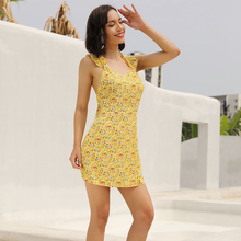 new trendy yellow summer dress sling spaghetti strap ruffles floral pattern mini dresses cross bandage back short 50002