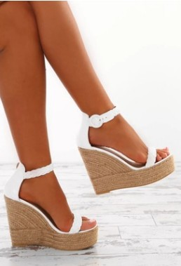 Women <font><b>Platform</b></font> Wedge Zip Summer <font><b>Sandals</b></font> Shoes Ladies Buckle Strap Knitted Hemp <font><b>Sexy</b></font> Party <font><b>High</b></font> <font><b>Heels</b></font> <font><b>Sandals</b></font> Shoes Size 34-43 image