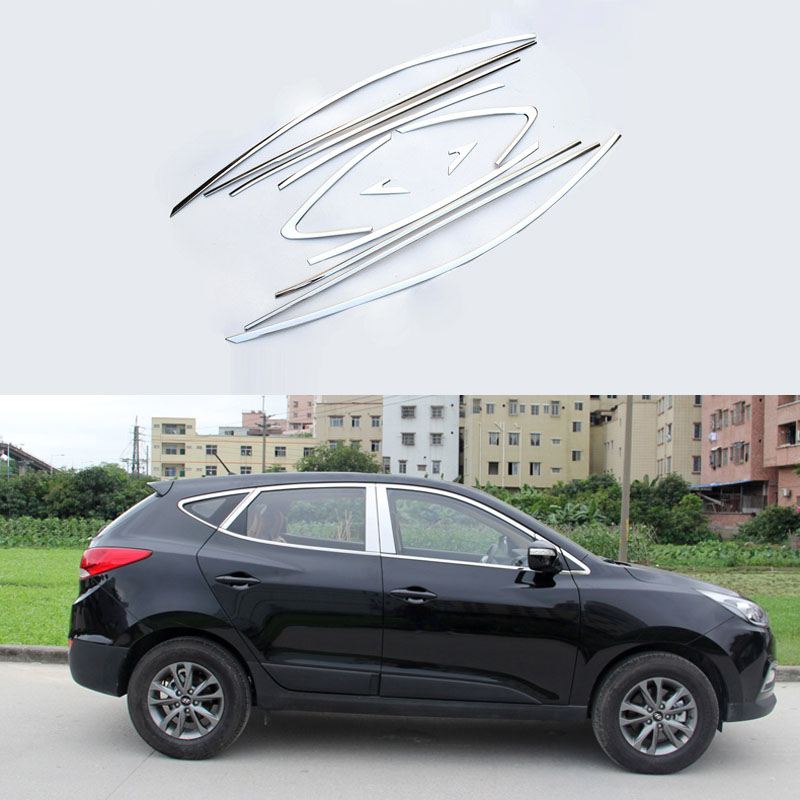 Stainless Steel Full Window With Center Pillar Decoration Trim Car Accessories For Hyundai IX35 2013 2014 2015 OEM-24 for vauxhall opel astra j 2010 2014 stainless steel window frame moulding trim center pillar protector car styling accessories