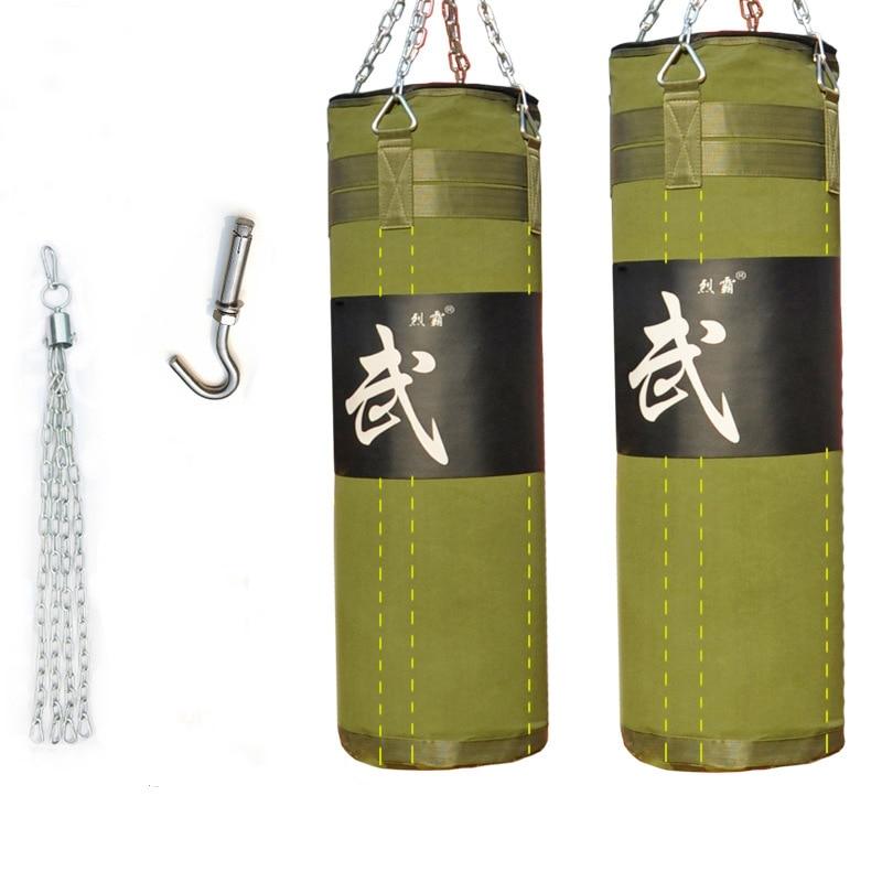 Toile Durable creux suspendus boxe g boxe sac de sable sac de frappe sac de sable avec longue chaîne + crochet rotatif