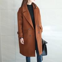 Korean Style 2017 New Autumn Winter Woolen Jacket Female Long Loose Large Size Plus Cotton Thicken