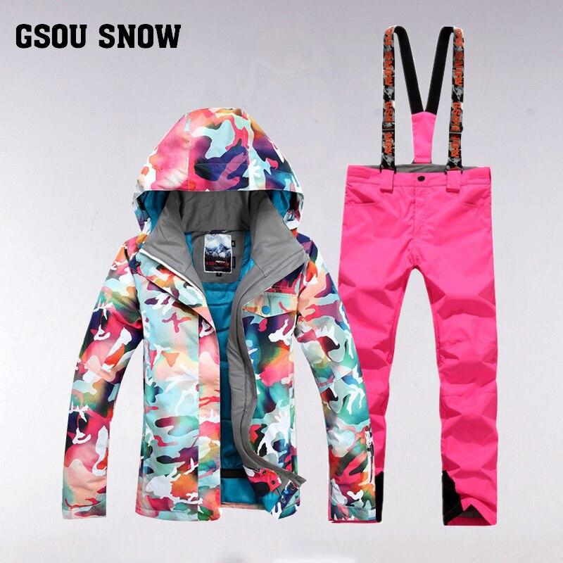 GSOU SNOW combinaison de Ski femme extérieur épais chaud coupe-vent imperméable respirant veste de Ski pantalon de Ski pour dame taille XS-L