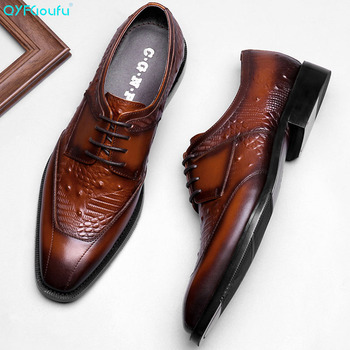 QYFCIOUFU Hot Handmade Men's Oxford Dress Shoes 2019 Black Genuine Leather Male Shoe Lace-up Wedding Office Formal Classic Shoes