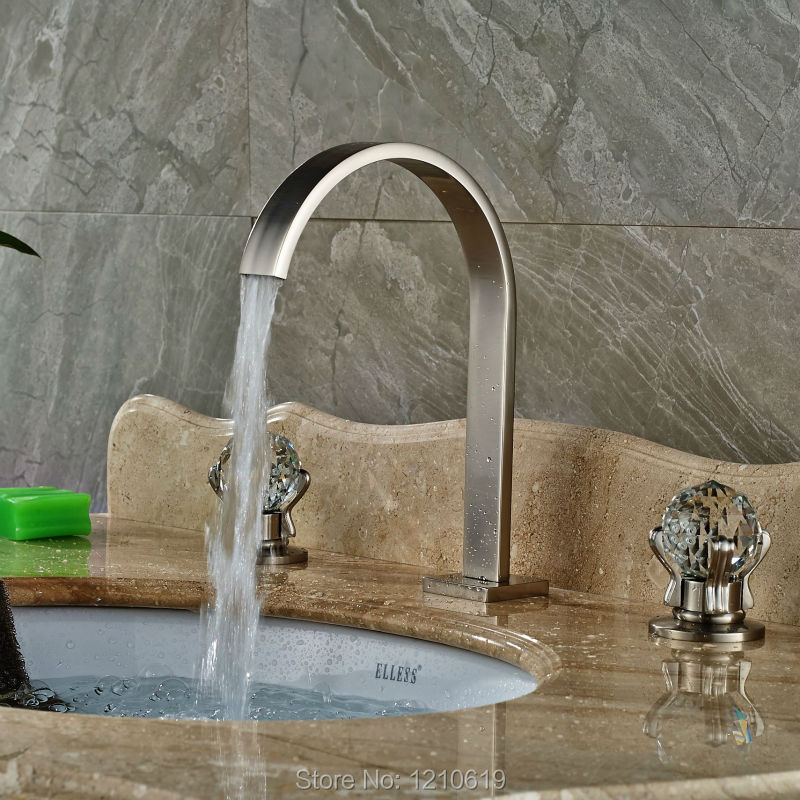 Uythner Newly Deck Mounted 3Pcs Sink Faucet Mixer Tap Nickel Brushed Crystal Basin Faucet Cold&Hot Water Tap цена