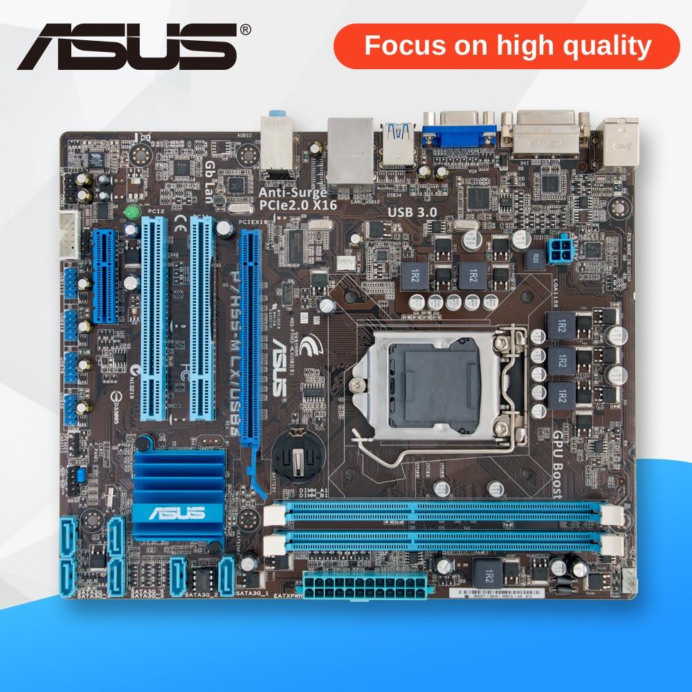 Asus P7H55-M LX/USB3 Desktop Motherboard H55 Socket LGA 1156 i3 i5 i7 DDR3 USB3.0 uATX asus p8h61 m lx original asus h61 m motherboard socket lga 1155 uatx ddr3 dvi vga usb2 0 16gb desktop mainboard