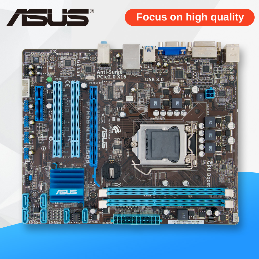 Asus P7H55-M LX/USB3 Desktop Motherboard H55 Socket LGA 1156 i3 i5 i7 DDR3 USB3.0 uATX asus p8h61 m pro desktop motherboard h61 socket lga 1155 i3 i5 i7 ddr3 16g uatx uefi bios original used mainboard on sale