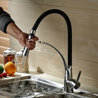 Becola New Design Pull Down Kitchen Faucet Chrome Brass Sink Mixer Tap Black Faucet Deck Mounted
