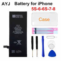 AYJ 1 Piece Brand New AAAAA Quality Phone Battery for iPhone 6S 6 5S 5C 7 8 High Real CapacityZero Cycle Free Tool Sticker Kit
