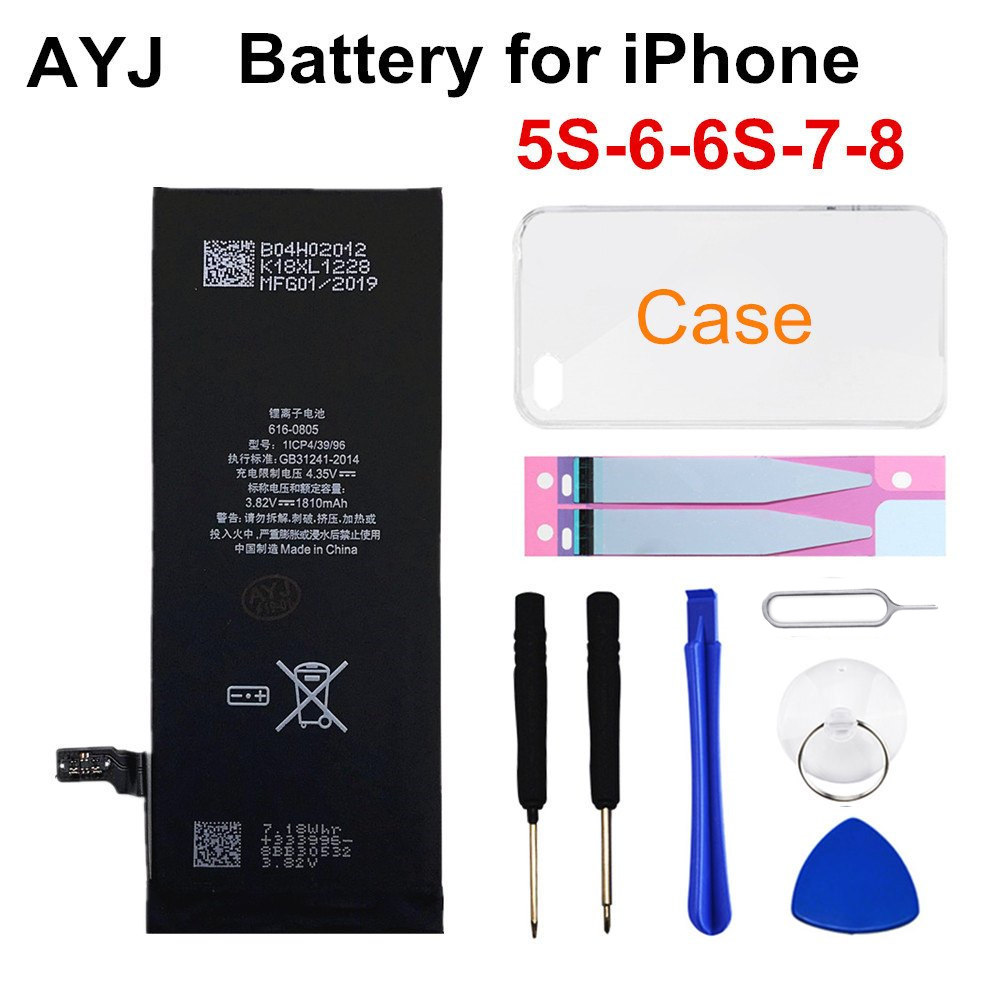 AYJ 1 Piece Brand New AAAAA Quality Phone Battery for iPhone 6S 6 5S 5C 7 8 High Real Capacity Zero Cycle Free Tool Sticker Case