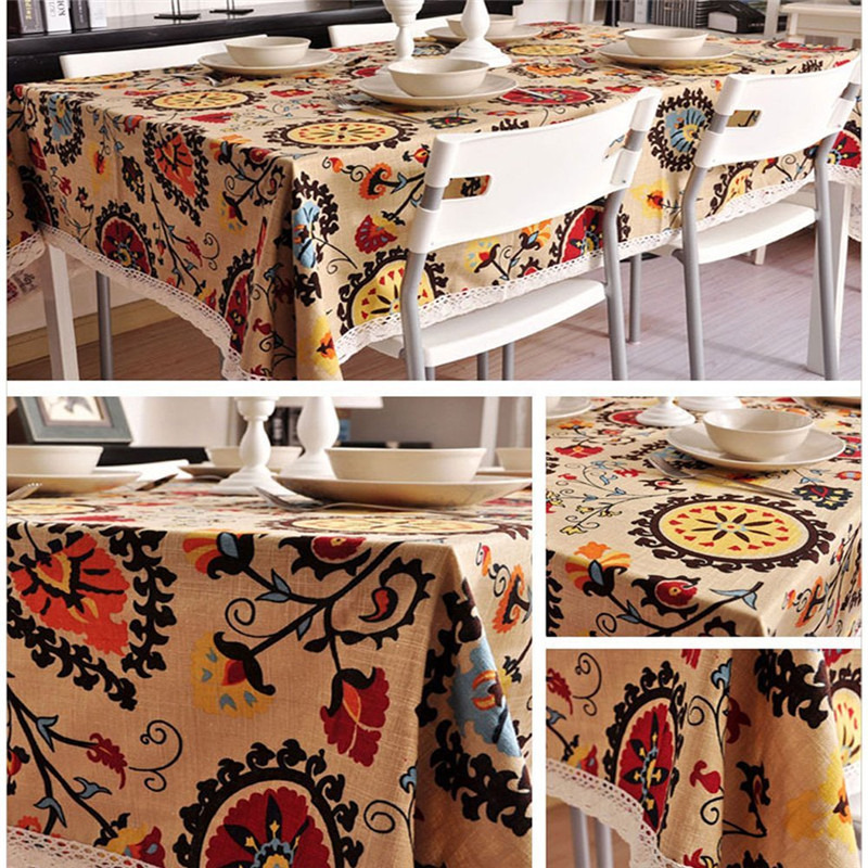Vintage Rectangular Cotton Linen Lace Sun Flower Tablecloth Washable  Tablecloth Dinner Picnic Table Cloth Home Decoration  In Tablecloths From  Home U0026 Garden ...