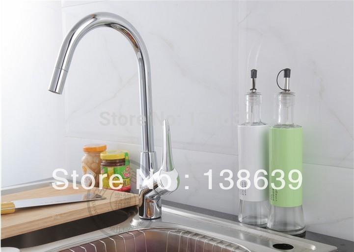 European Style Kitchen Faucet : Brass single handle european style kitchen faucet cold and hot water tapsdesk mounted