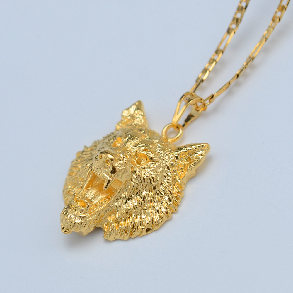 Aliexpresscom Buy Anniyo Wolf Pendant Necklaces for WomenMen