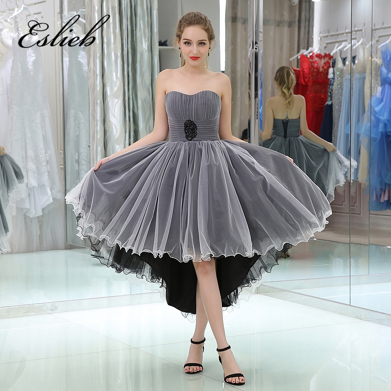 Free Shipping Custom made High/Low   Cocktail     Dresses   2017 Sweetheart Sleeveles lace up back Pleat   Cocktail   Party   Dress
