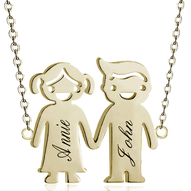 Cartoon Boy Girl Custom Carved Pendant Necklace Stainless Steel Chain Personalized Necklace Fashion Simple Cute Women Necklace in Pendant Necklaces from Jewelry Accessories