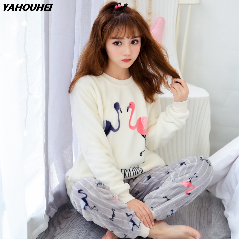 Thick Warm Soft Flannel Pajamas Sets For Women 2019 Winter Long Sleeve Coral Velvet Pyjama Girls Cute Cartoon Flamingo Sleepwear