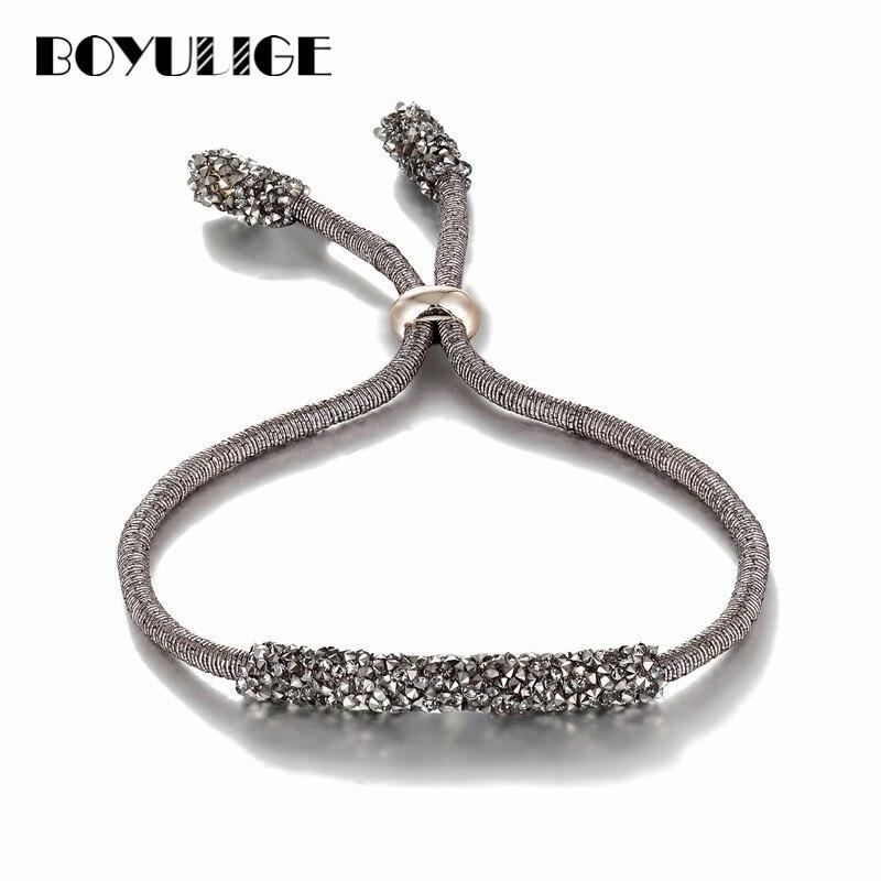 90aa7e0e33ae BOYULIGE joyería de moda plata oro encanto pulseras de cristal brazaletes para  mujer amor Acero inoxidable pulsera 2018 regalos de boda
