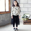 Children Clothing 2016 Spring and Autumn Girls Casual Long Sleeve Pullovers Hoodies Sets Kids Polka Dot Two Pieces Sets