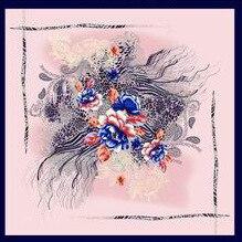 Printed silk scarf female flower elegance 110cm scarf silk muslim headscarf decorative shawls beach blanket scarf bandana in Women 39 s Scarves from Apparel Accessories
