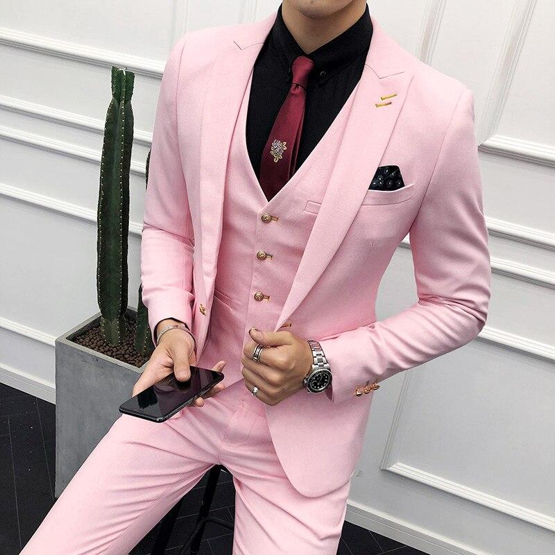 3PC Costume hommes tout nouveau Slim Fit affaires vêtements de cérémonie smoking haute qualité robe de mariée hommes costumes décontracté Costume Homme 2XL rose
