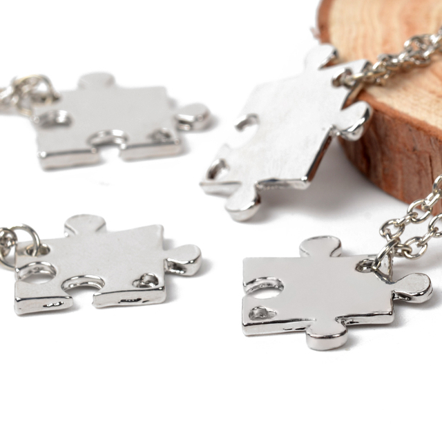 4 Pcs Best Friends Necklaces Puzzle Silver-Plated Pendant For Friendship BFF Jigsaw Choker Necklaces For Family Jewelry Gift