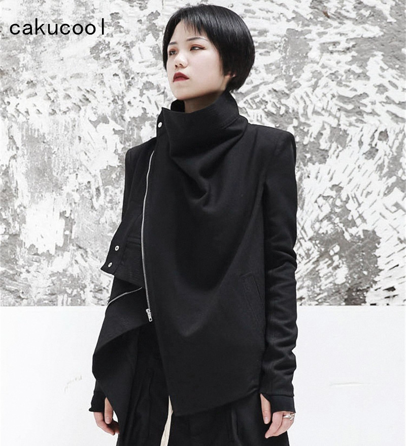 0323a6a7b4397 US $51.35 5% OFF|Cakucool Women Zipper Jacket Turtleneck Cool Gothic Black  Coat Cardigan Autumn Asymmetric Motorcycle Basic Jaqueta Feminino Plus-in  ...