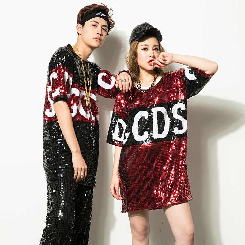 Новая джазовая танцевальная одежда костюм Стадия DS для взрослых мужчин и женщин с блестками хип хоп Современная хип хоп одежда для выступлений|взрослый джаз костюмы|современный танцы одежда|костюм танцы костюмы - AliExpress