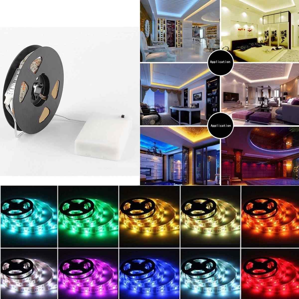 RGB Светодиодная лента гибкая лента для освещения с батарейным отсеком Водонепроницаемая IP65 3 режима 20 цветов 50 см 100 см 150 см 200 см