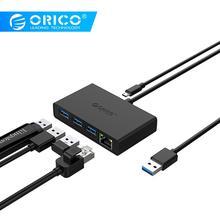 ORICO USB3.0+Gigabit Ethernet Port HUB Mini Hub For Desk/Office/Home USB3.0 Hub цены