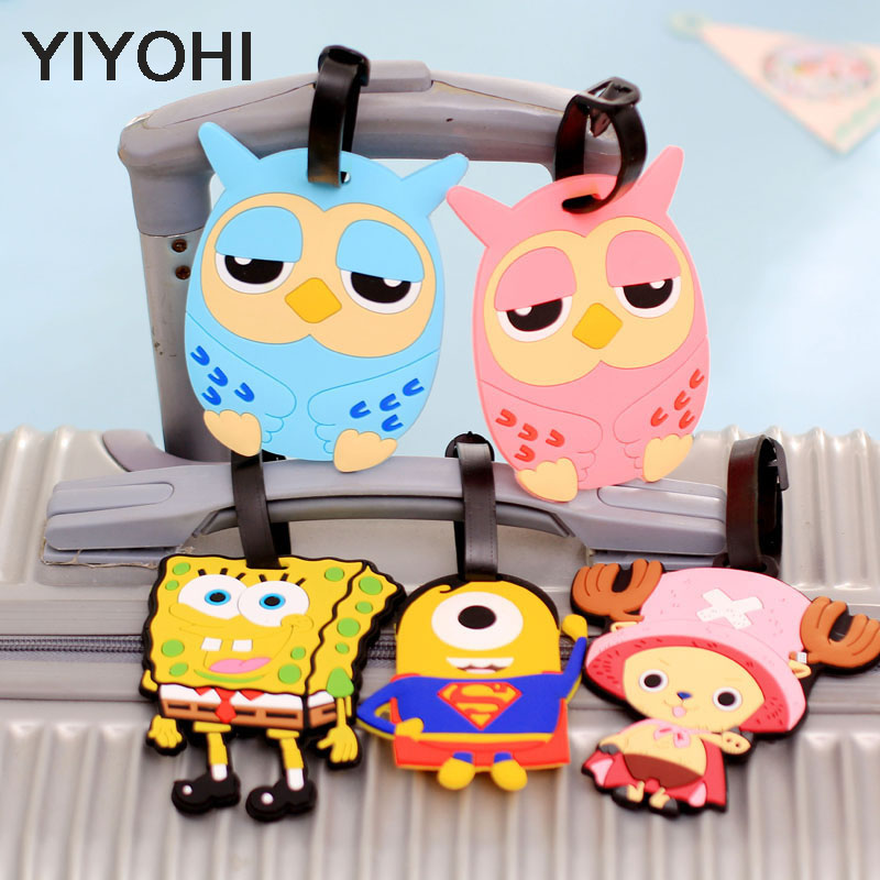 YIYOHI Travel Luggage Tag Besar Cute Cartoon Silica Gel Superman SpongeBob Koper Baggage Boarding Tags Portable Travel Label