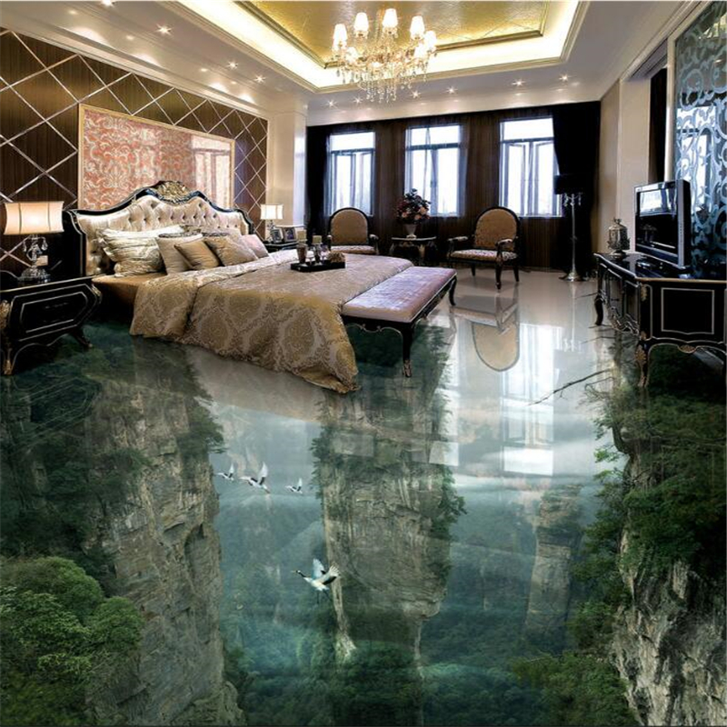 Beibehang Custom Ground Decorated 3D Wallpaper People Wonderland Peak Cliffs Living Room Bathroom 3d flooring Tiles Paintings ...