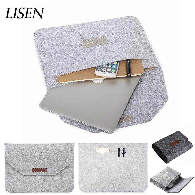 Hot Soft Wool Felt Sleeve Bag For Apple Macbook Air Pro Retina 11 12 13 15 Laptop Case For Xiaomi Lenovo HP Dell 13.3 15.6 Cover