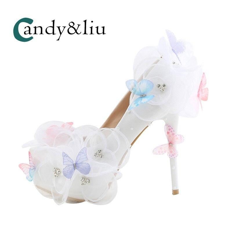 Blanc Fleur Chaussures De Soirée Talons Élevés Strass Papillon pointu à talons hauts mariée de mariage étanche femelle un bracelet