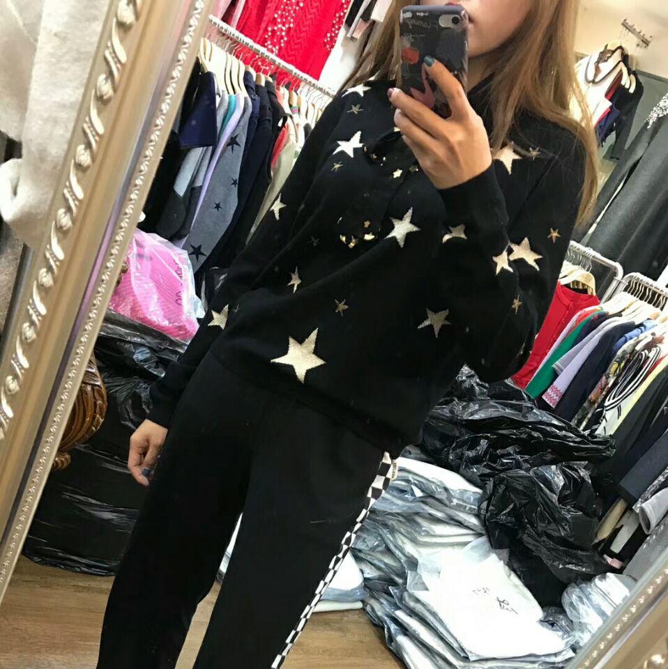 2019 marque de mode cashemere laine étoiles motif imprimé pull court style tricot laine blouse à manches longues hauts wj1839 - 3