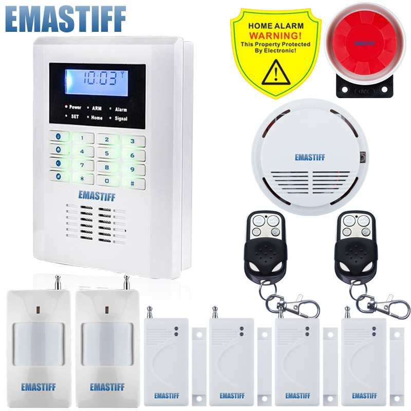 Free Shipping!latest 99 wireless zone Quad-Band LCD home security PSTN GSM alarm system+Smoke Sensor+4 Door Gap Sensor+2 PIR free shipping 99 wireless zone and 2 wired quad band lcd home security pstn gsm alarm system 3 pet immune pirs 5 new door sensor